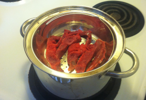 Steaming the placenta is thought to bring warmth postpartum.